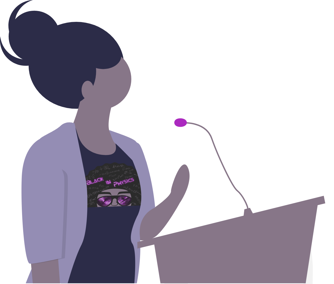 Illustration of a Black Female Scientist giving speech with BIP logo on shirt