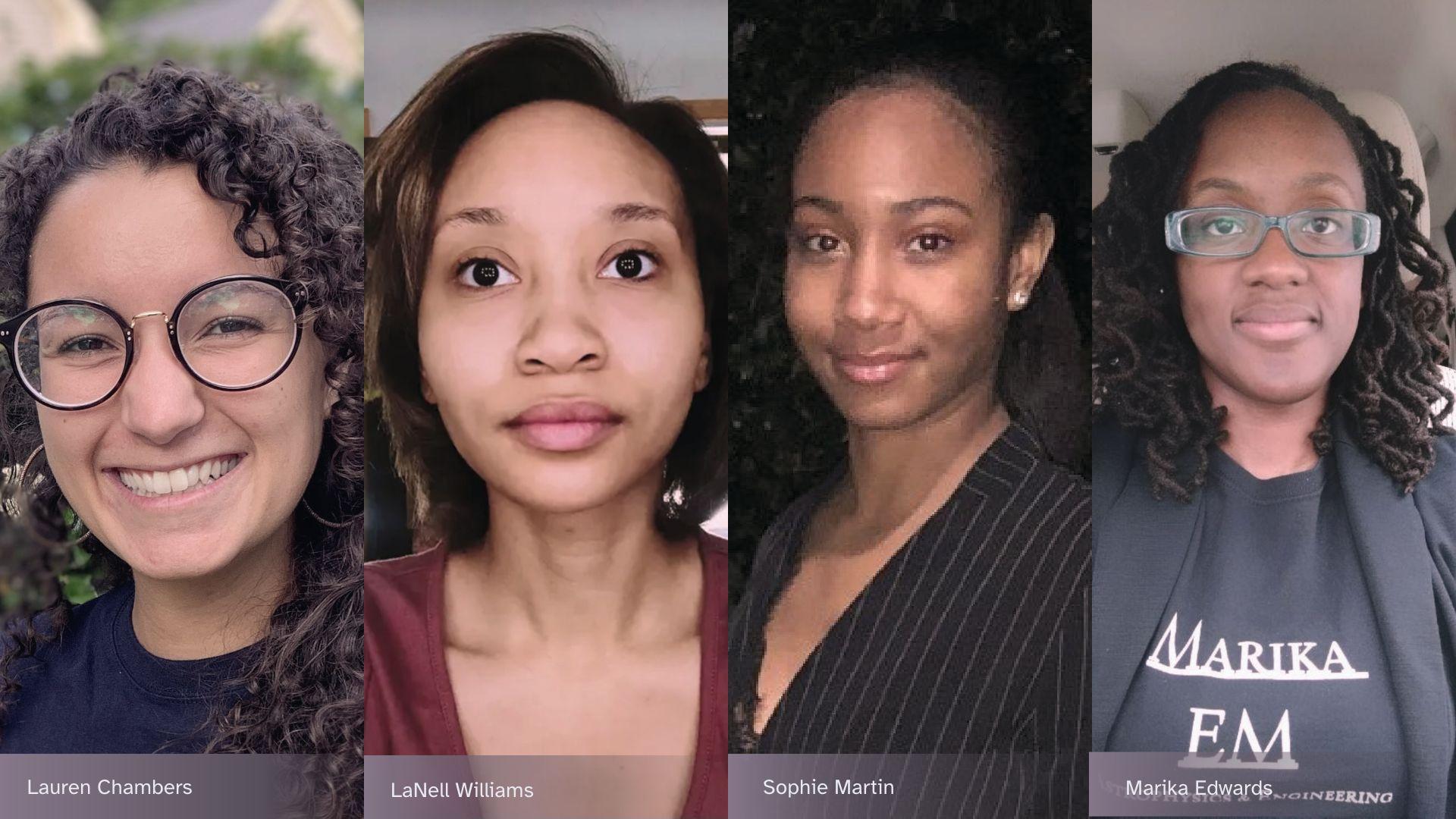 Photographs of Sophie Martin, LaNell Williams, Marika Edwards, Lauren Chambers